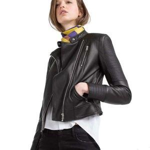 NEW Zara Leather Moto Biker Jacket